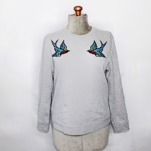 Topman Grey, Blue, Red Embroidered Bird Sweater